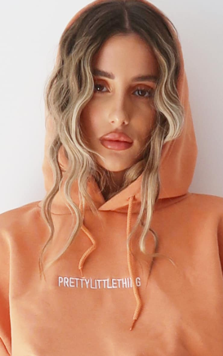 PRETTYLITTLETHING Chestnut Embroidered Slogan Hoodie 4