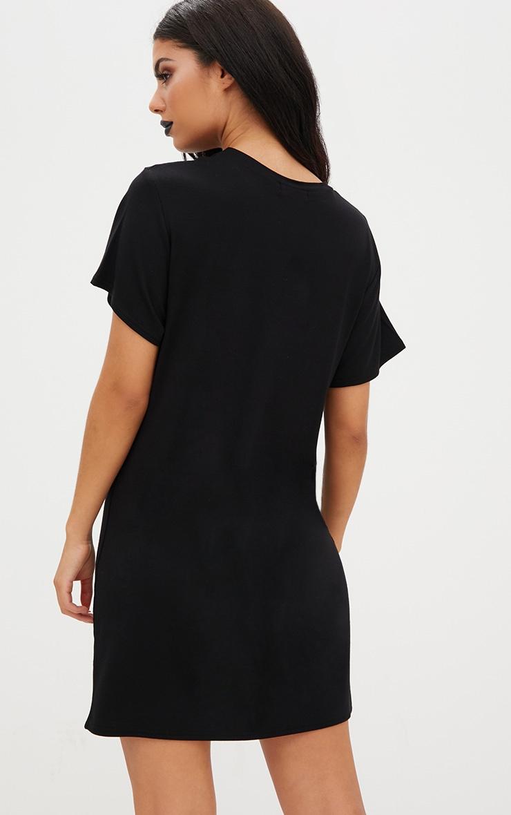 Robe t-shirt en jersey noire «Do Your Fang» 2