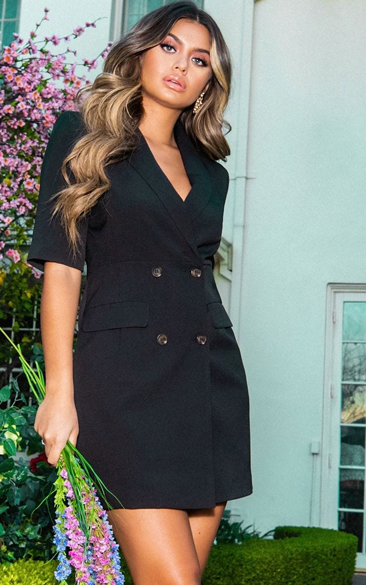 Black 3/4 Sleeve Blazer Dress 1