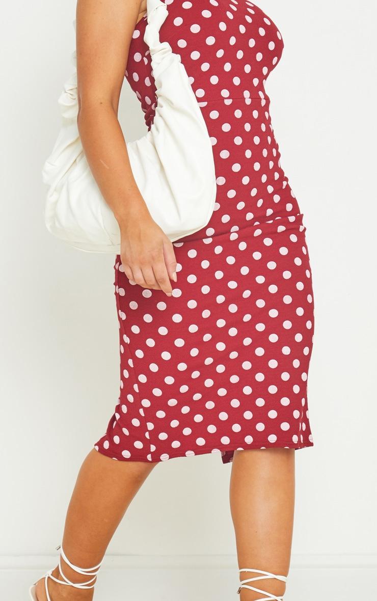 Burgundy Polka Dot Crepe Strappy Midi Dress 4