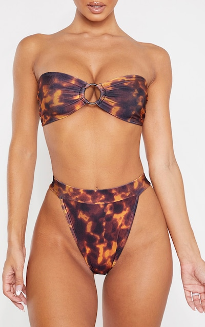 Brown Tortoise Print High Waist Bikini Bottom