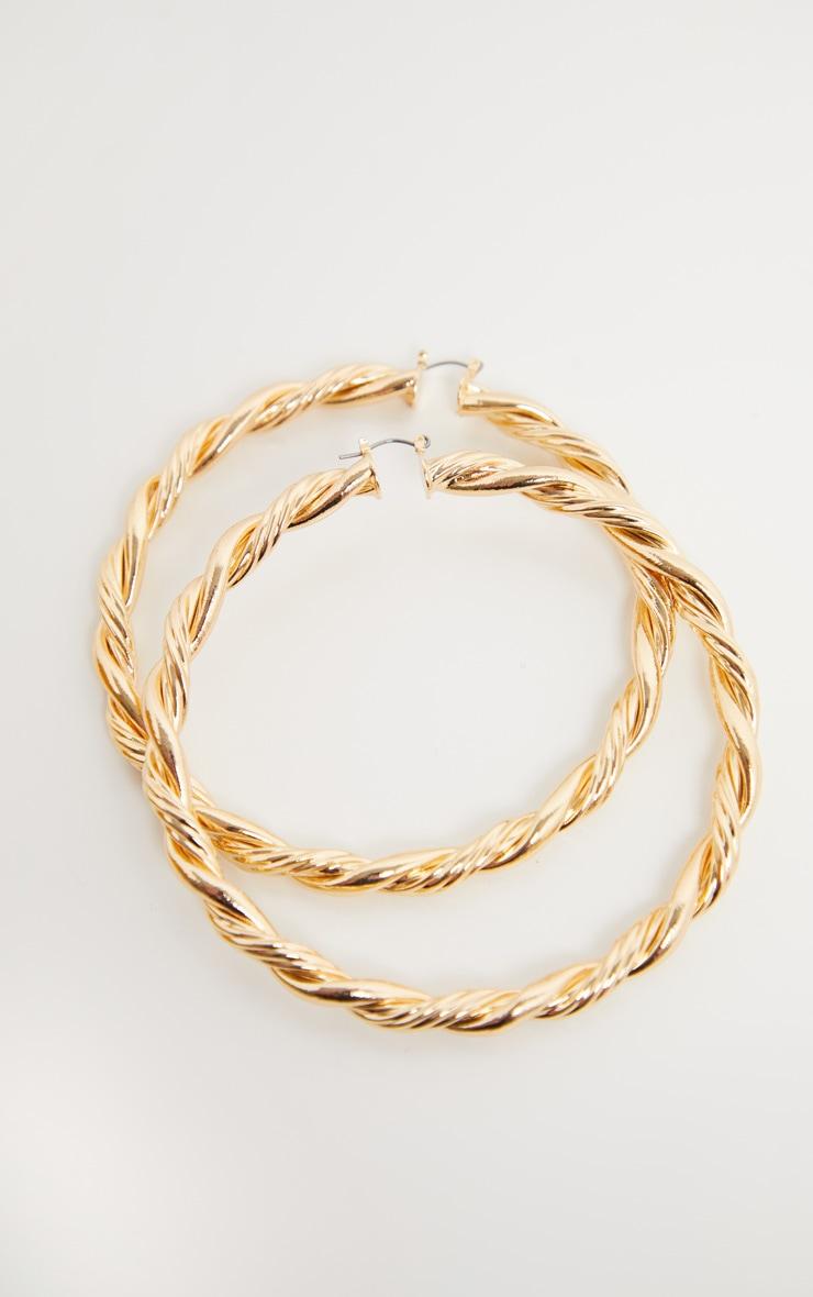 Gold Oversized Twist Statement Hoops 3