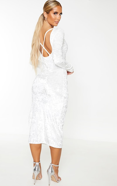 White Crushed Velvet Strappy Back Midi Dress