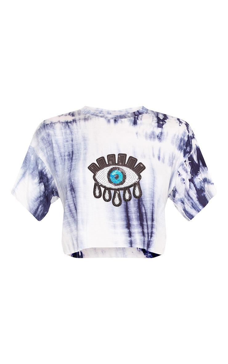 Aletha Blue Tie Dye Eye Applique Crop T Shirt 3