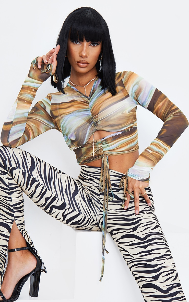 Multi Mesh Abstract Print Ruched Cut Out Top 2