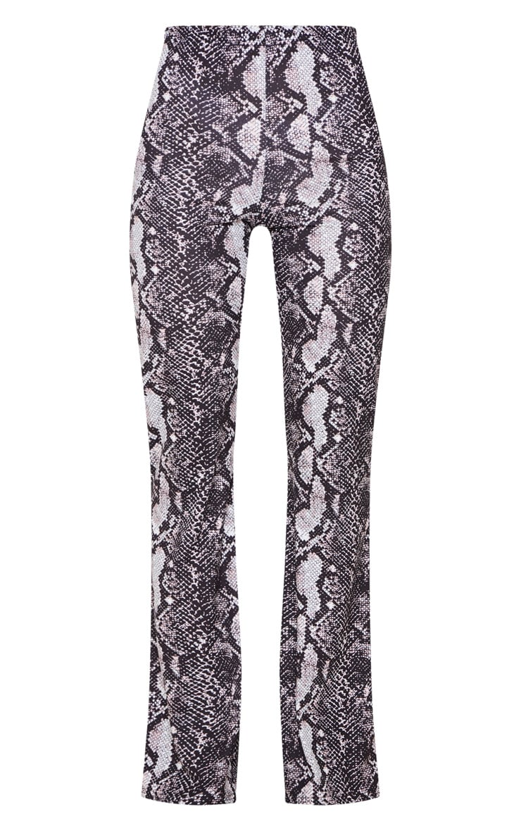 Snake Print Flare Leg Pants 3