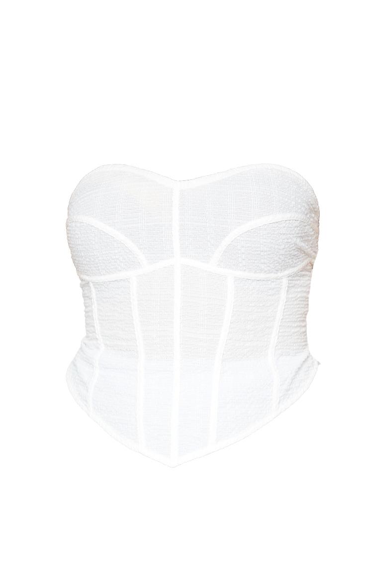 Plus White Textured Curved Hem Corset Top 5