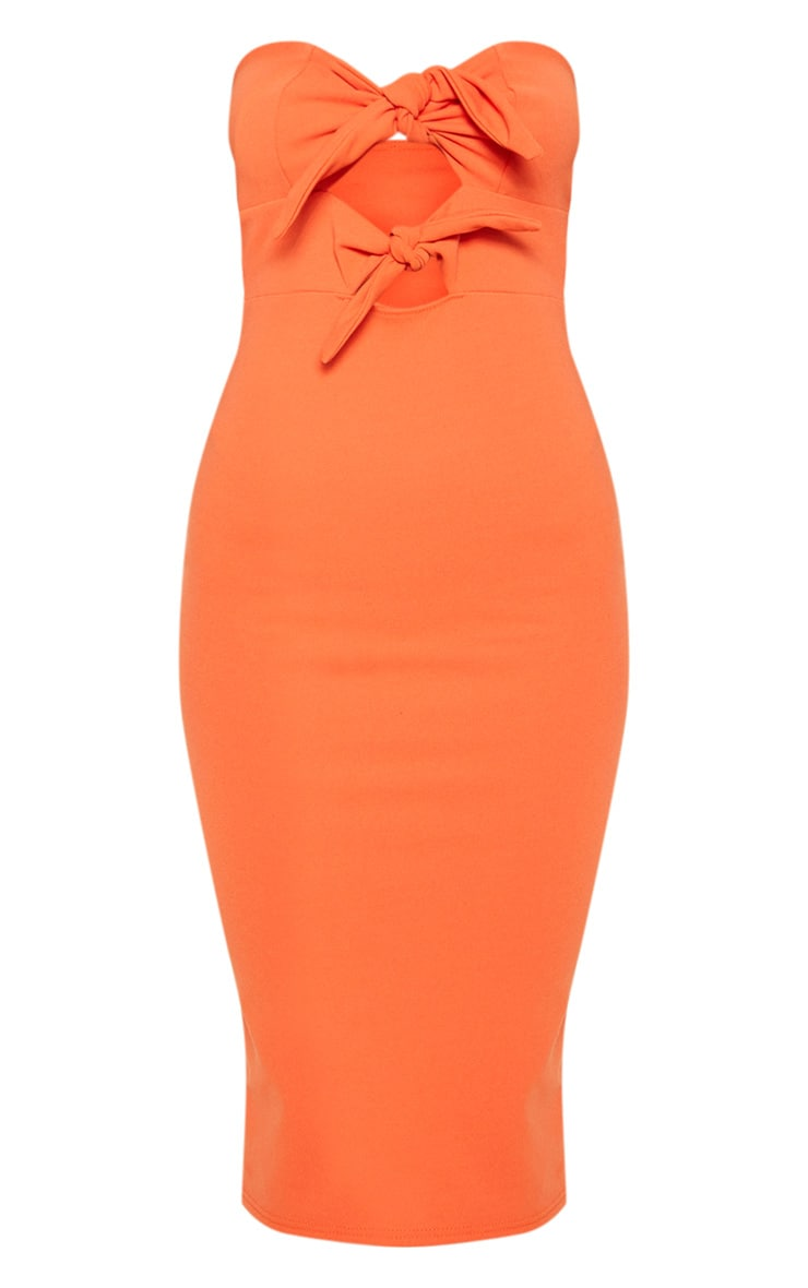 Bright Orange Tie Front Frill Hem Midi Dress 3