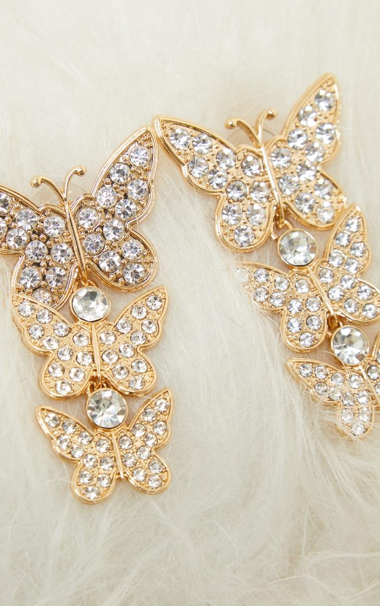 Gold Diamante Drop Butterfly Earrings 2