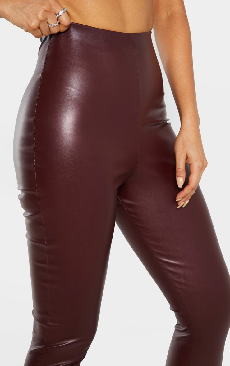 Tall Burgundy Faux Leather High Waisted Legging 6