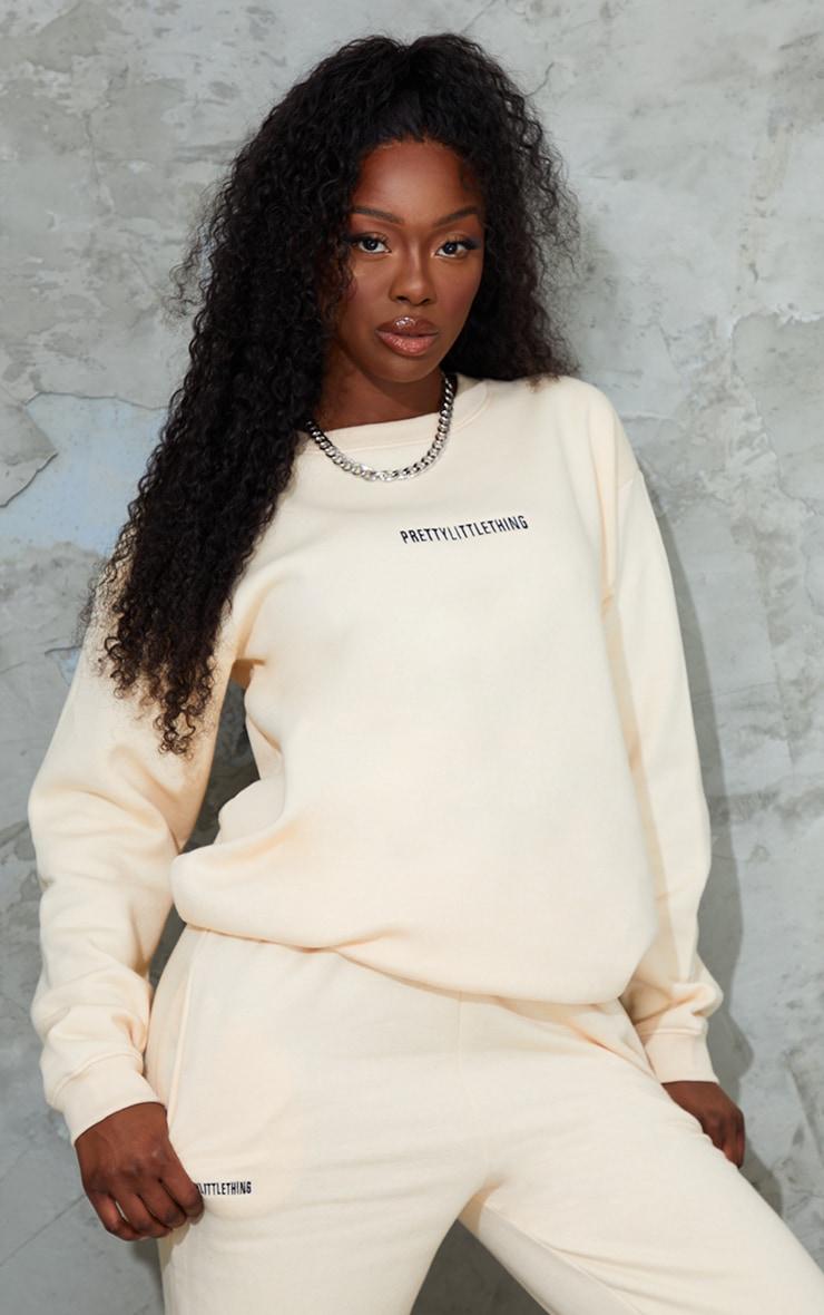 PRETTYLITTLETHING Ecru Embroidered LoungeSweatshirt 1