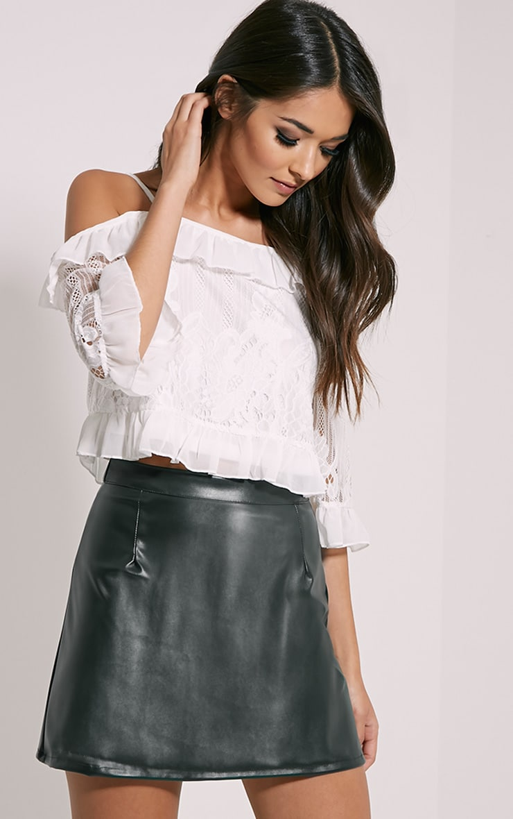 75477ee6d23 Rose Green Faux Leather A-Line Mini Skirt image 1