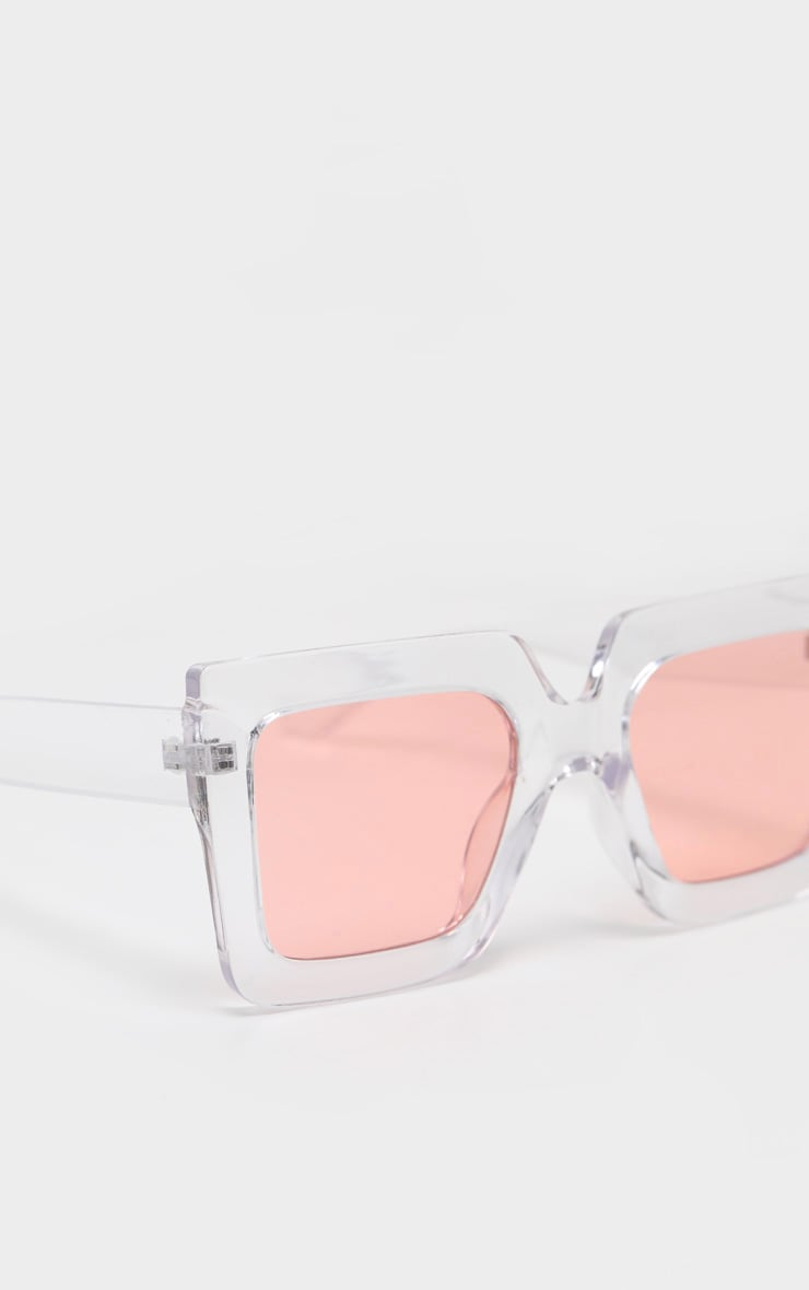 Pink Lens Angular Frame Retro Sunglasses 4