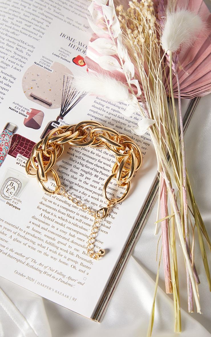 Gold Oversized Chunky Rope Chain Bracelet 2