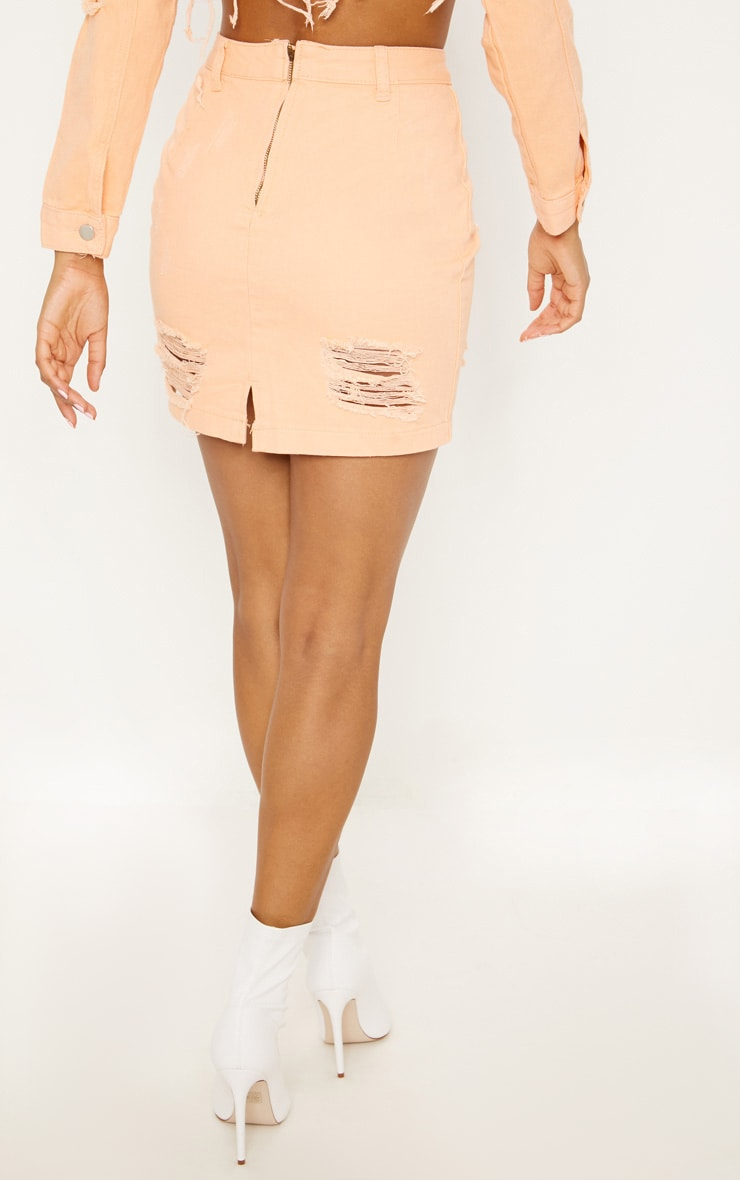 Peach Super Distress High Waisted Denim Mini Skirt 4