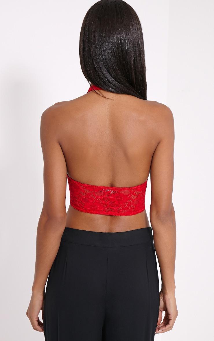 Liana Red Lace Halterneck Crop Top 2