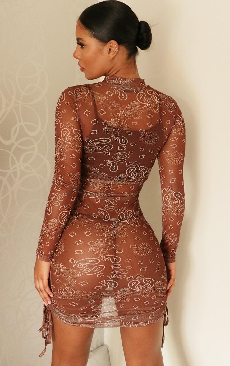 Brown Bandana Print Mesh Ruched Detail Long Sleeve Bodycon Dress 2
