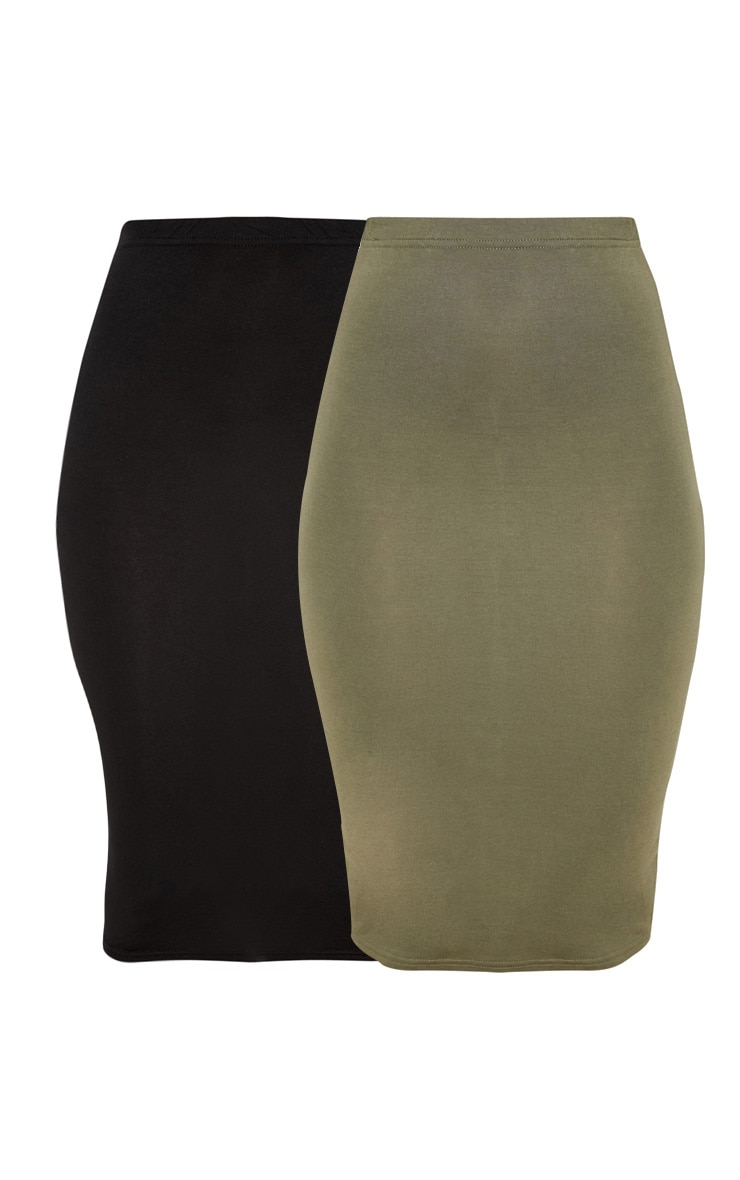 Basic Black & Khaki Jersey Midi Skirt 2 Pack 3