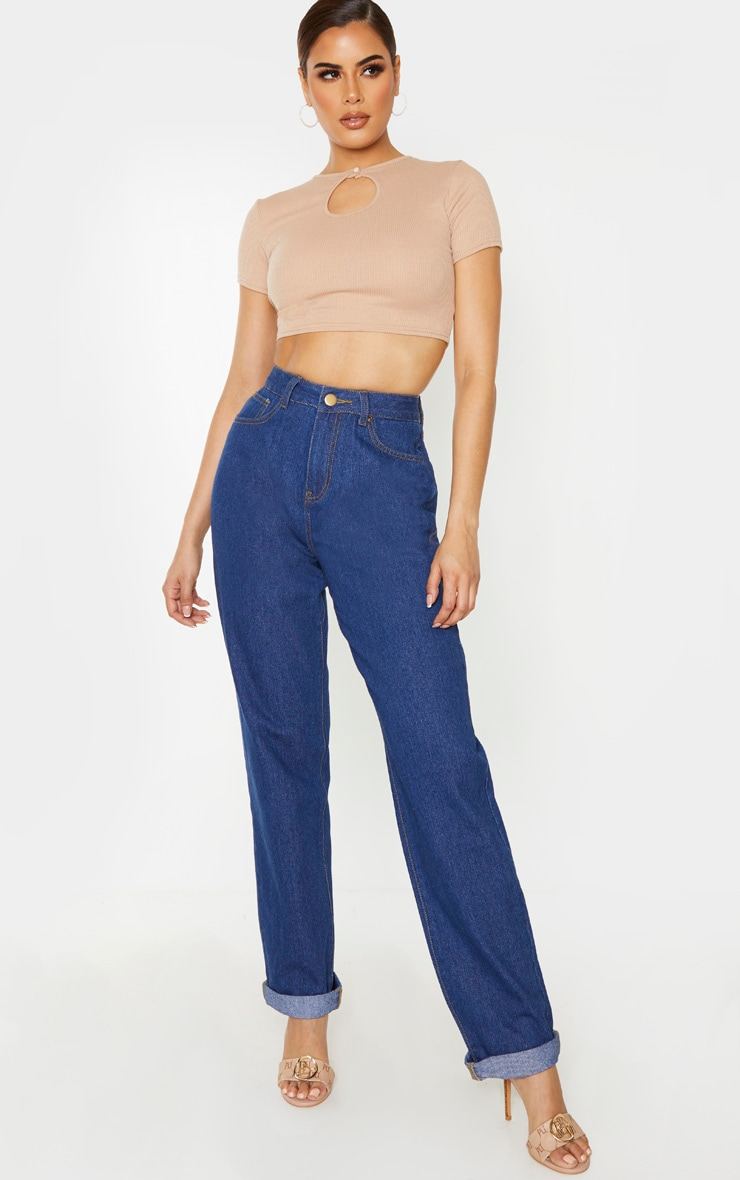 Tall Stone Ribbed Keyhole Crop Top 4