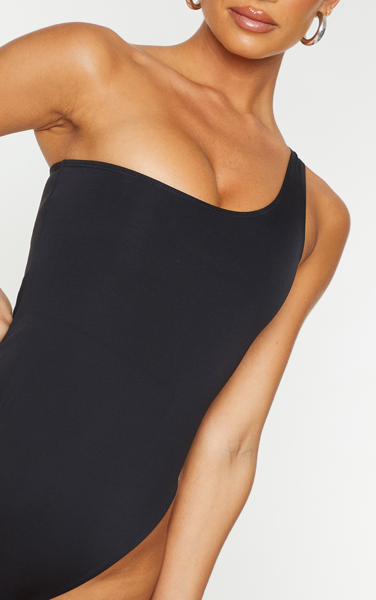 Black One Shoulder Scuba Swimsuit 4