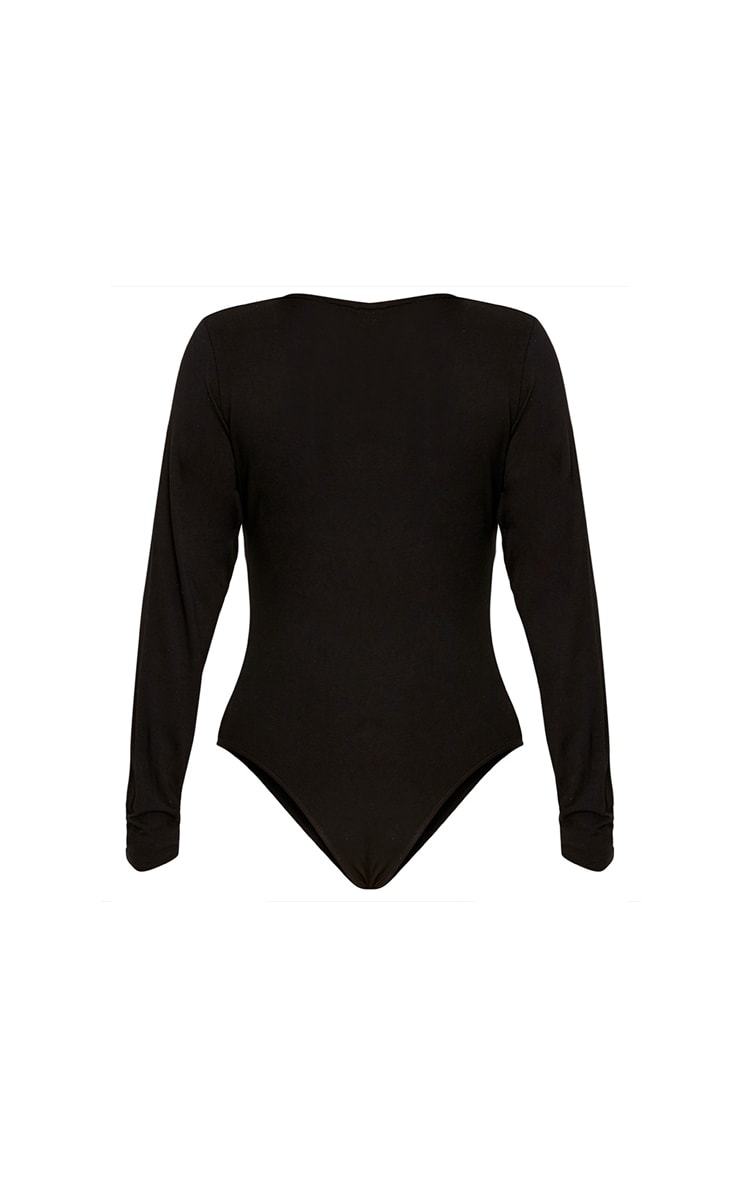 Petite Domineca Black Basic V Neck Bodysuit 4