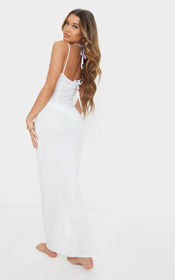 White Waffle Knit Maxi Beach Dress 2