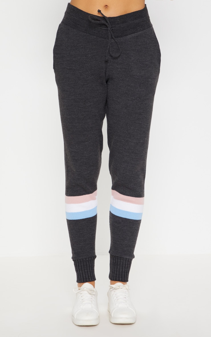 Charcoal Stripe Detail Knitted Jogger Lounge Set 6