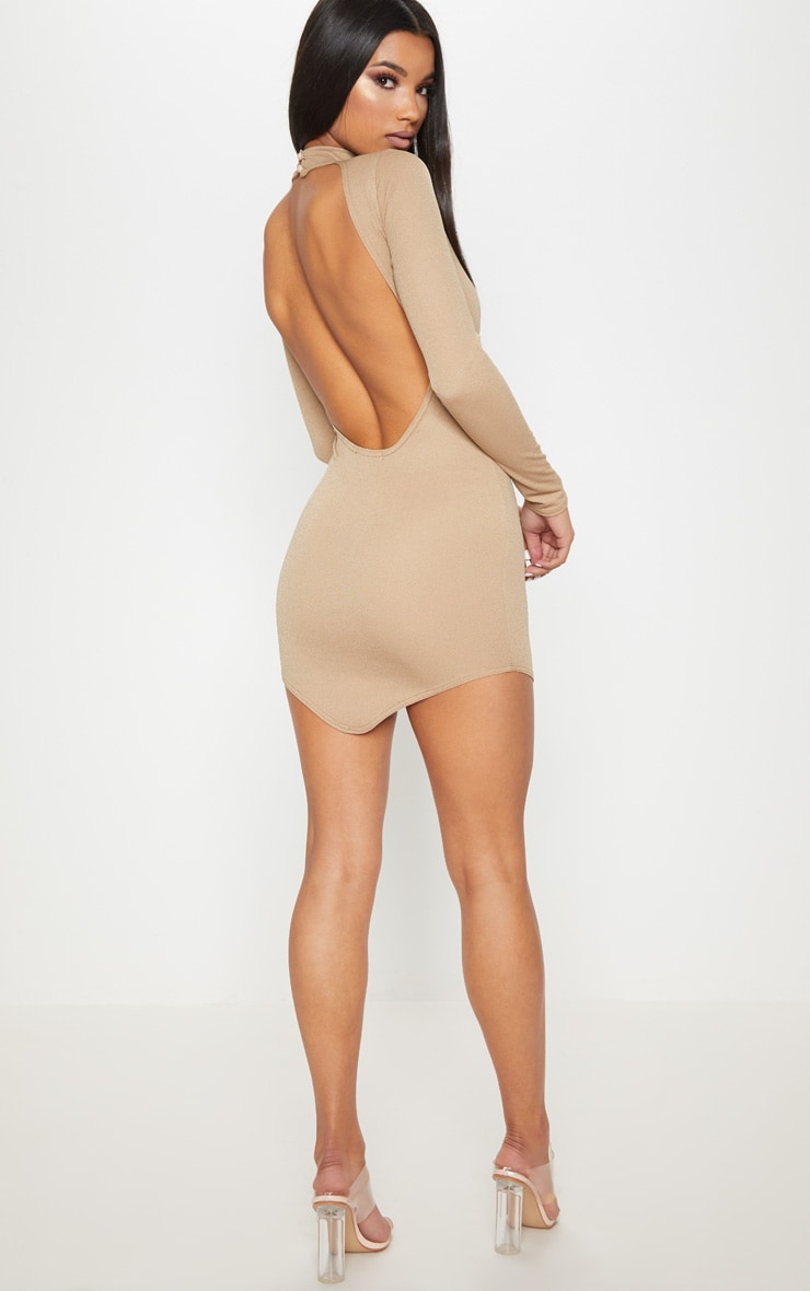 Taupe High Neck Extreme Scoop Back Pointy Hem Bodycon Dress 1