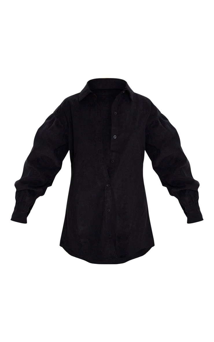 Black Balloon Sleeve Cord Shirt 3