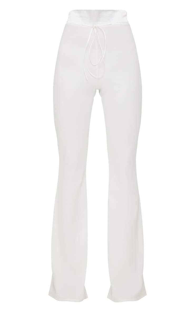 Cream Satin Waistband Detail Flare Trouser 3