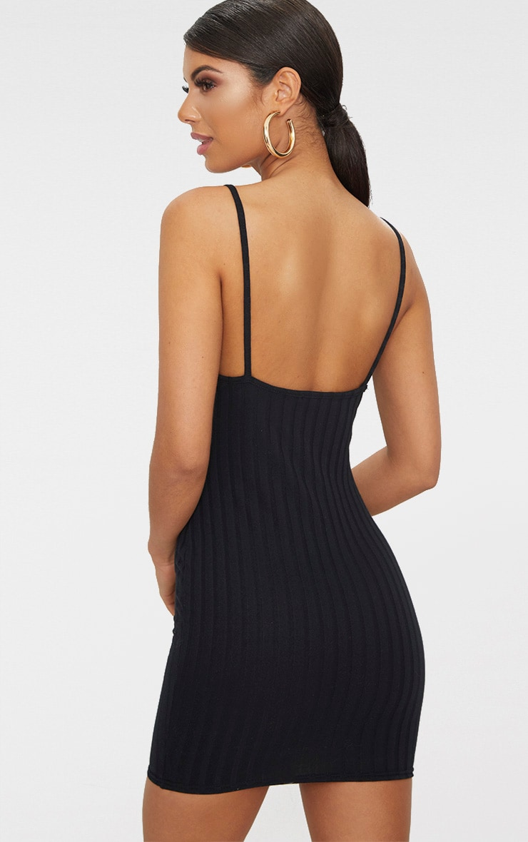 Black Rib Knit Strappy Dress 2