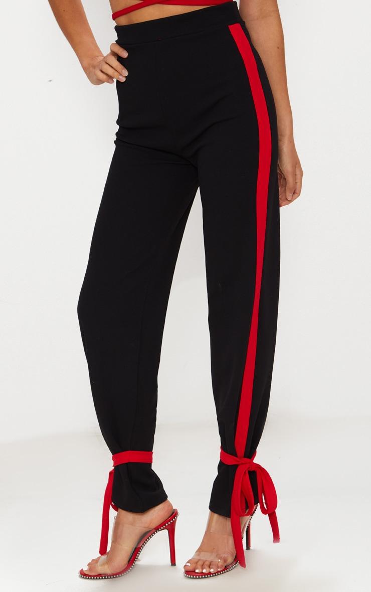 Black Contrast Stripe Tie Hem Trouser 2