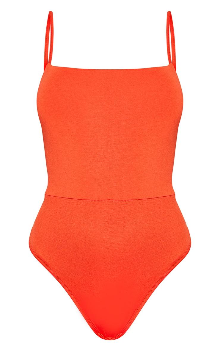 Basic Orange Square Neck Thong Bodysuit 3
