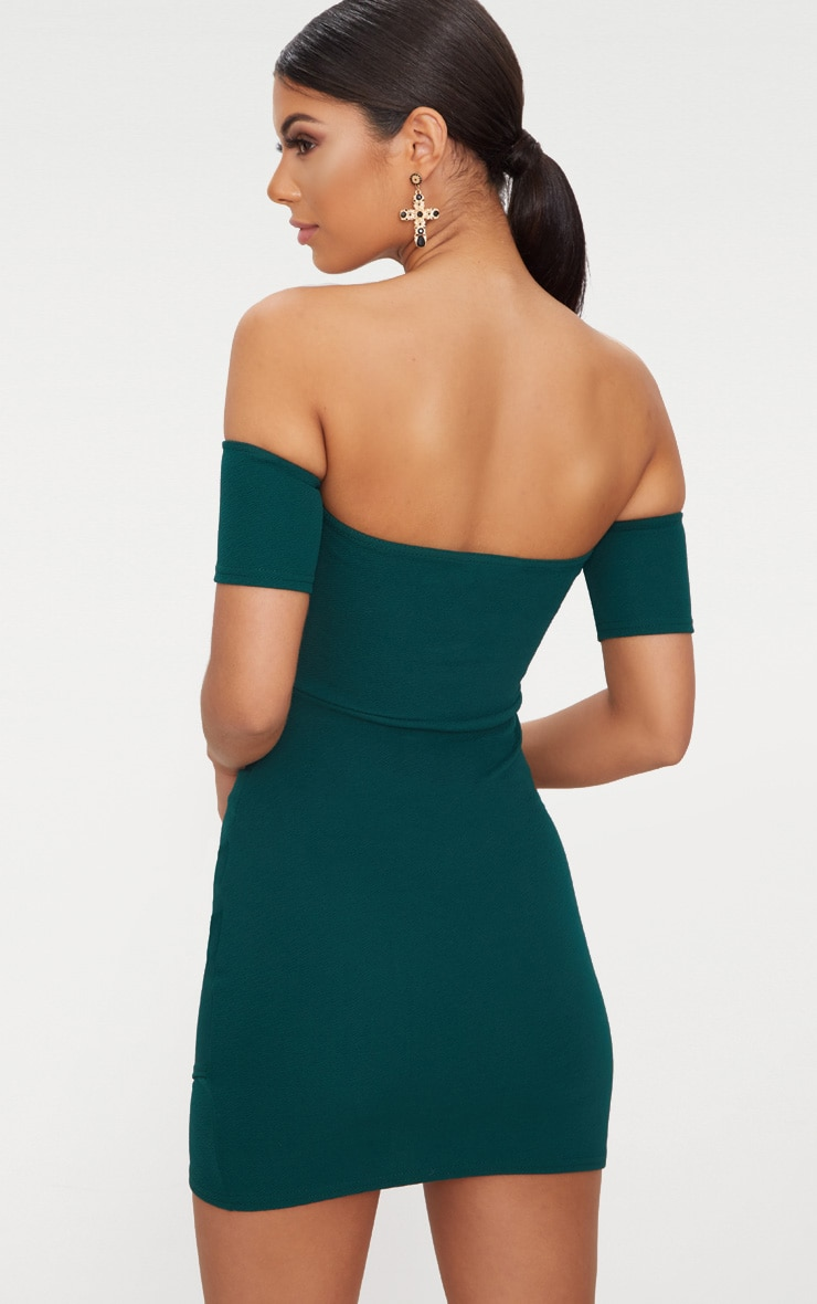 Emerald Green Bardot Wrap Front Bodycon Dress 2