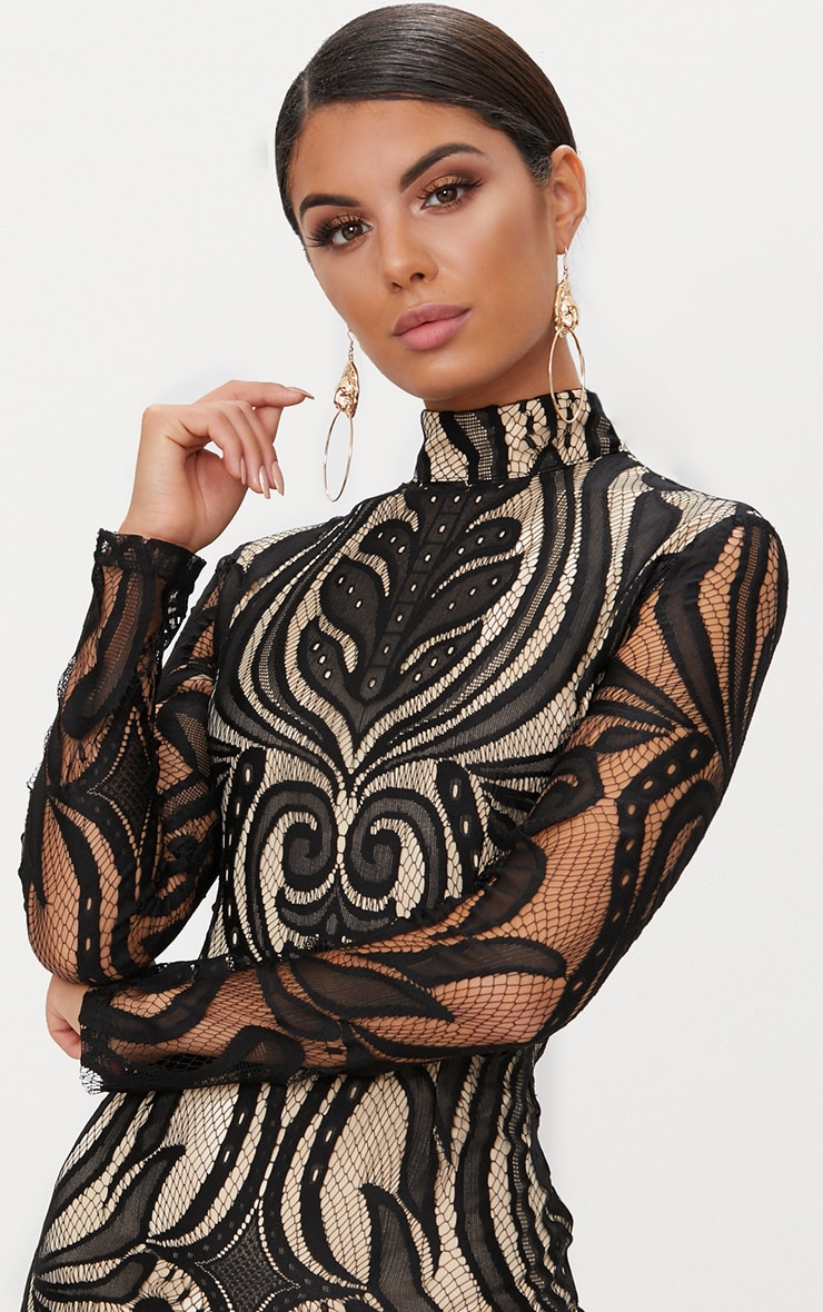 Black High Neck Long Sleeve Lace Bodycon Dress  5