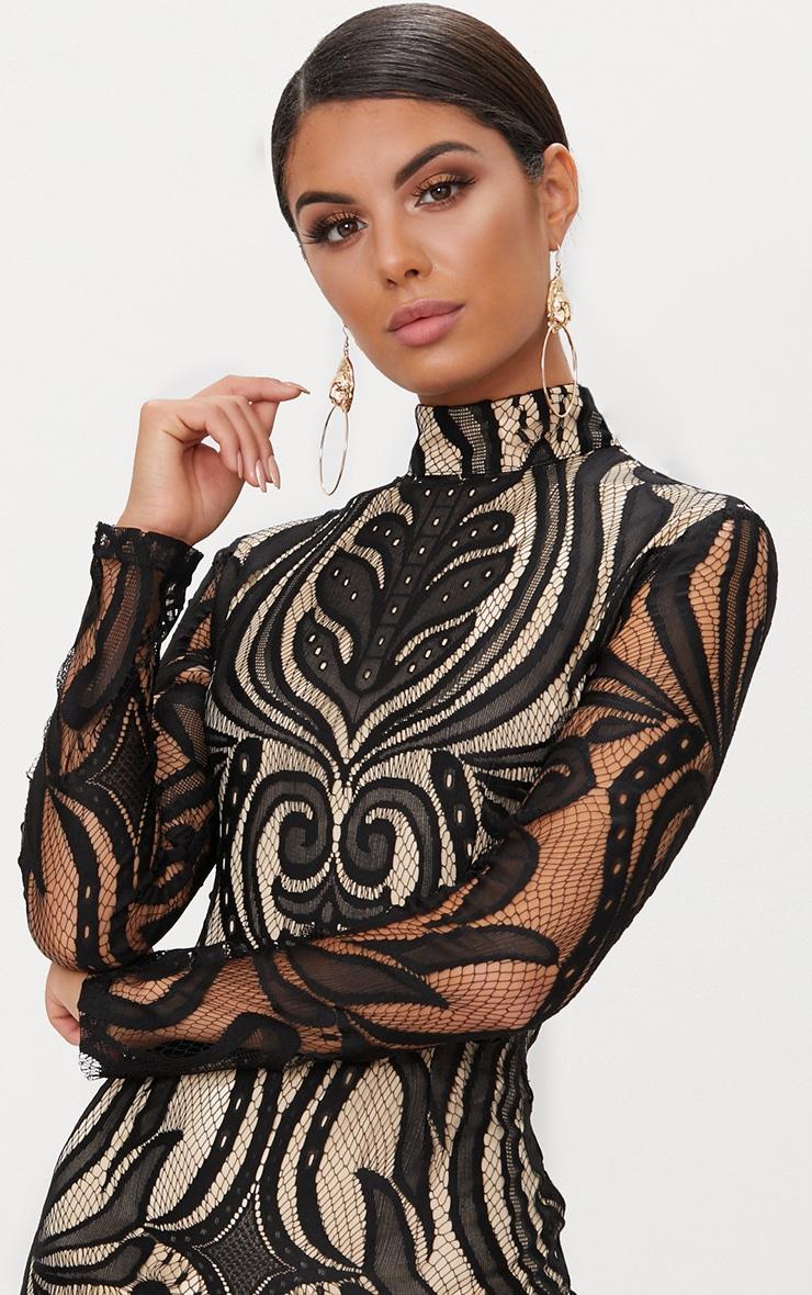 Black High Neck Long Sleeve Lace Bodycon Dress 5