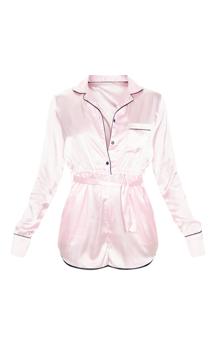 Baby Pink Long Sleeve Satin Romper 3