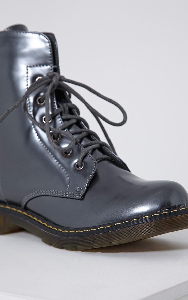 Eleni Grey Metallic Rubber Sole Lace Up Boots 6