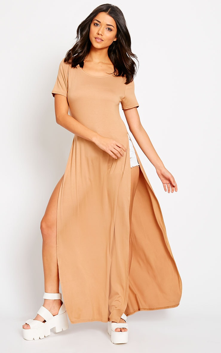 Monte Camel Side Split Maxi Top 3