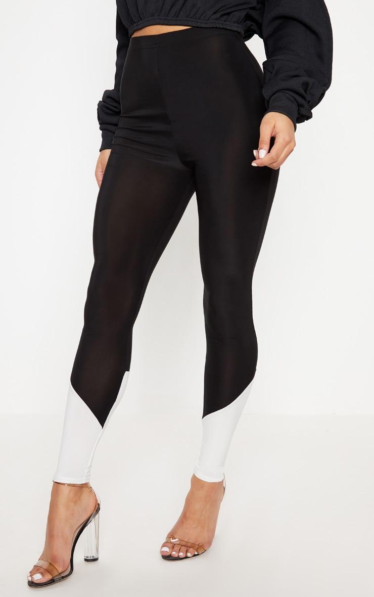 Black Slinky Contrast Hem Panel Legging 2