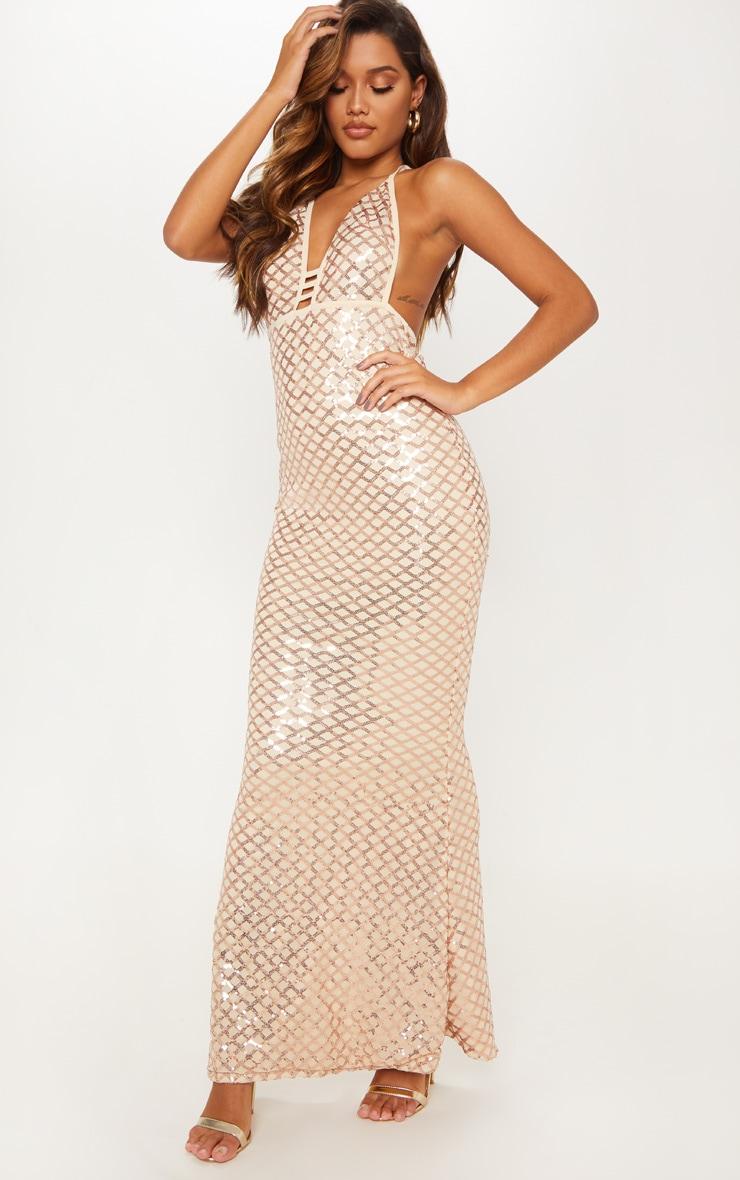 Rose Gold Diamond Sequin Halterneck Fishtail Maxi Dress 2