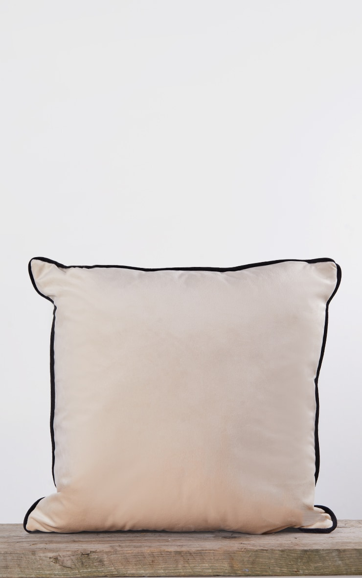 Cream Velvet Filled Cushion With Contrast Piping 4