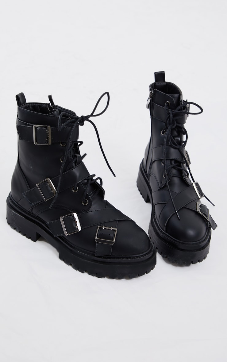Black Buckle Trim Chunky Boots 1