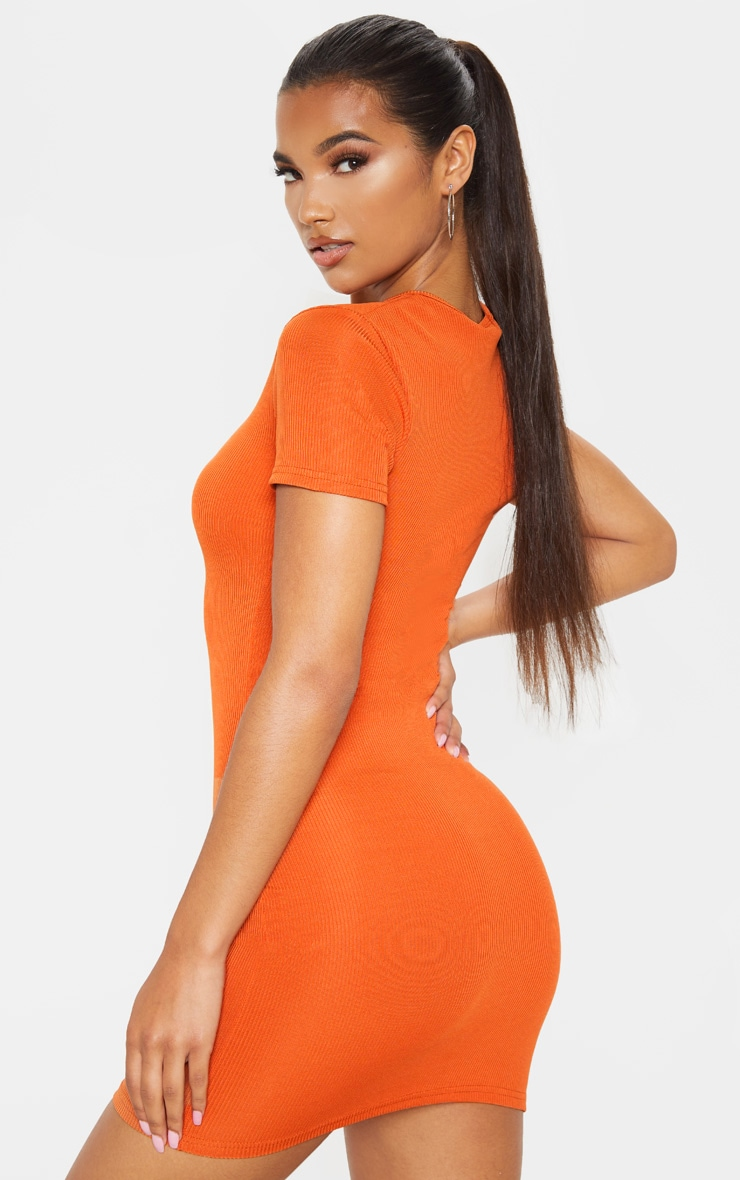 Rust Zip Front Ribbed Bodycon Dress 2