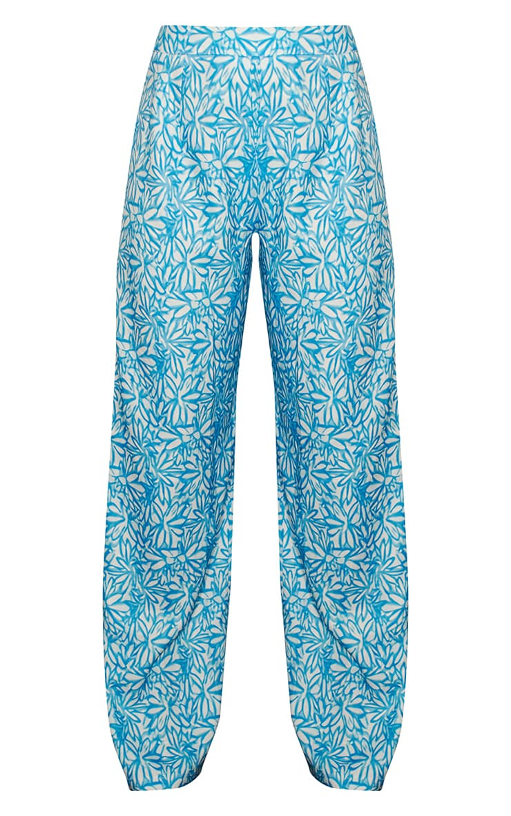 Blue Floral Print Wide Leg Pants 5