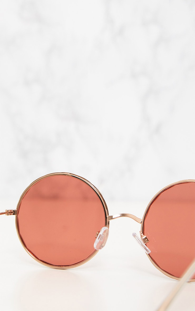 Pink Twisted Frame Round Sunglasses 5