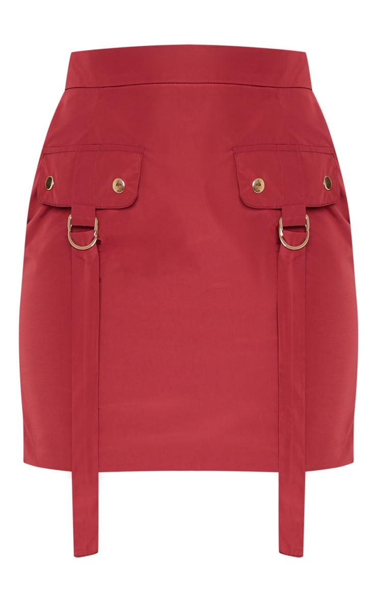 Burgundy Cargo Pocket Detail Mini Skirt  3
