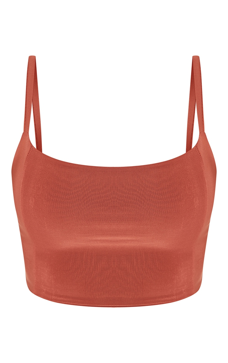 Shape Rust Slinky Panelled Crop Top 3