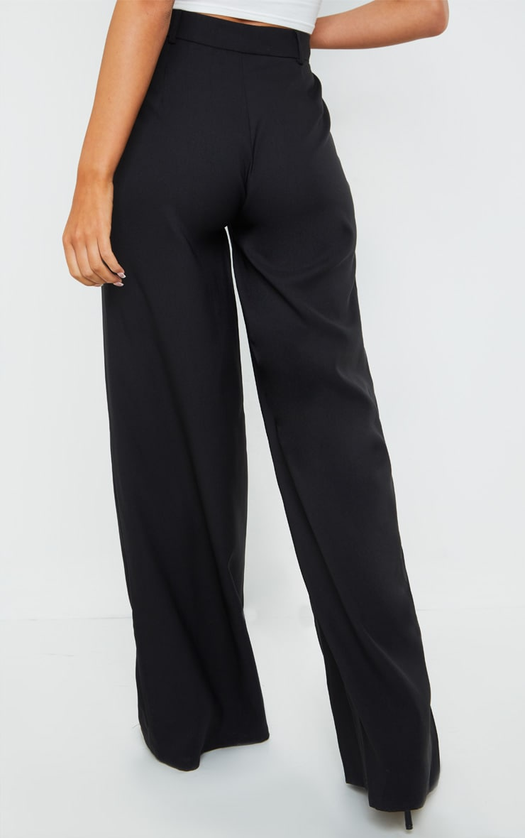 Black Woven Tailored Wide Leg Trousers 3