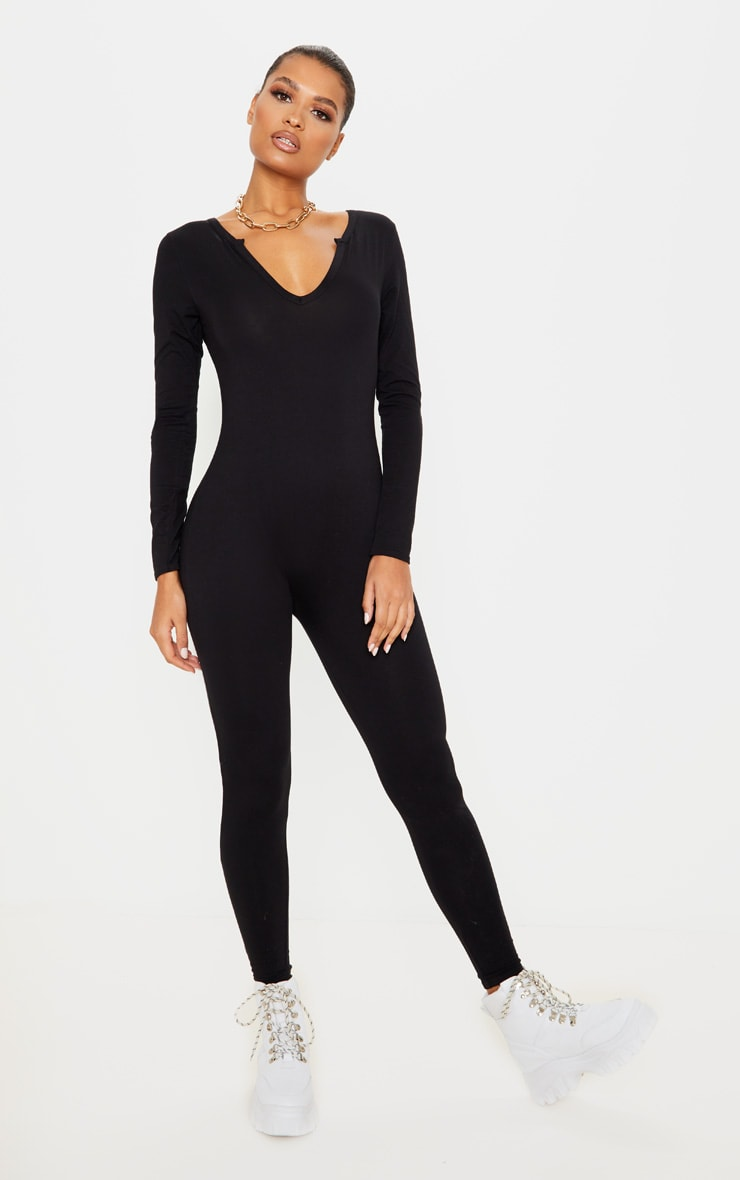 Black Seamless Cotton Elastane V Neck Jumpsuit 1